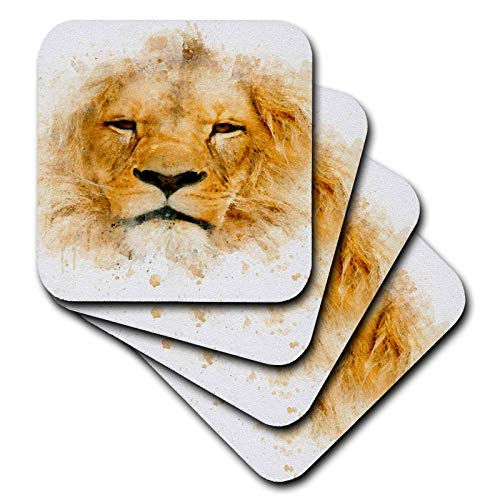 3dRose Anne Marie Baugh - Impressionist Mixed Media Art - Image Of Watercolor Lion Face Art - set of 4 Ceramic Tile Coasters (cst_318684_3)
