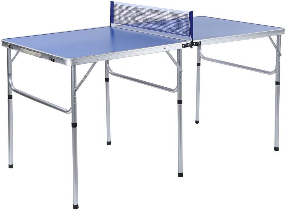 Dioche Mini mesa de ping pong portátil con red, juego de ping pong, mesa plegable con red, 2 remo y 3 pelotas