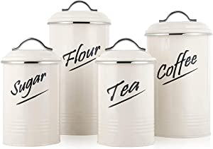 Hillbond Food Storage Canister Set of 4 with BPA Free Airtight Lid, Kitchen Jars for Storage Flour, Sugar, Tea, Coffee, Food Containers Size Ideal for Pantry and Cabinets, 100, 90, 44 fl oz, Ivory