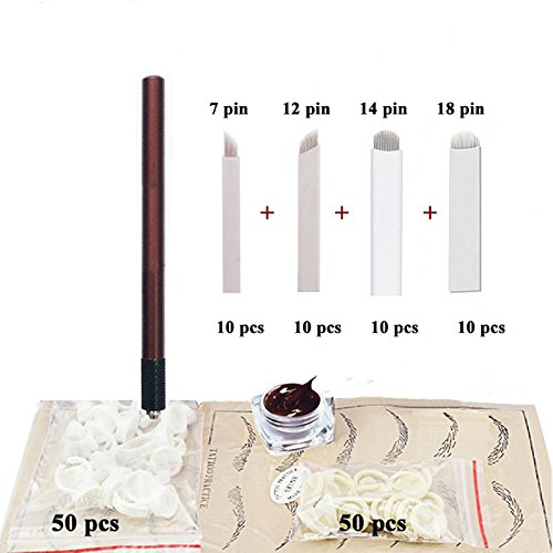 Price comparison product image Microblading kit Eyebrow Micro Needling Pen Set with Blades Pigment Practice-skin Ring cup for eyebrow tattoo Permanet Makeup Tatto Kits- QMYBrow