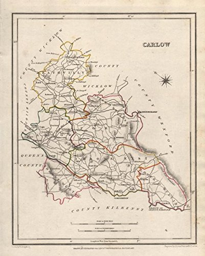 Carlow Map Of Ireland.County Carlow Antique Map For Lewis By Creighton Dower Ireland