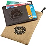 Leather Flight Outfitters Pilot Men's and Women's Wallet with Money Clip and ID Holder