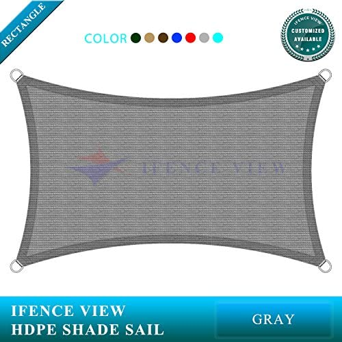Ifenceview 7 x7 -7 x24 Rectangle UV Blocking Sun Shade Sail Canopy Awning for Patio Yard Garden Driveway Outdoor Facility 7 x 24 , Grey