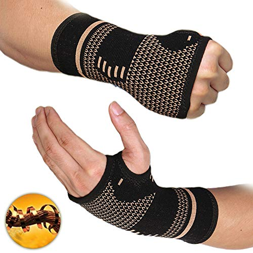 COLO Coppor Wrist Compression Sleeve Support - Wrist Support Brace for, Carpal Tunnel, Typing, Tennis, Wrist Pain Relief, Bowling, Golf, Sports - Improve Circulation and Support Wrist