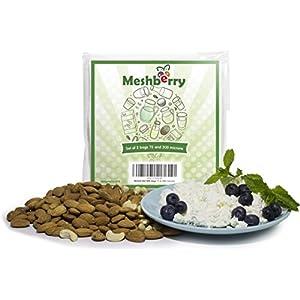 "Nut Milk Bags - 2 Pack - Best Silky Texture Maker - Juice & Cottage Cheese & Greek Yogurt Strainer - Reusable & Durable 12""X12"" 75 & 200 Microns Fine Mesh Nylon White"