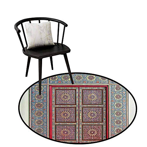 Home Round Rug Moroccan Decor Collection for The Kitchen A Magnificent Moroccan Traditional Ancient Door Gate Brass Historic Handicraft Image Blue Coral D31(80cm)