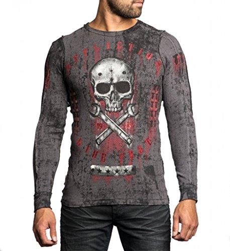 Affliction Men Live Fast Reversible Thermal Shirt Skull Wing Eagle Long Sleeves
