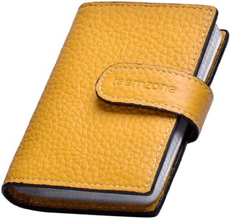 Teemzone Men's & Women's RFID Blocking Credit Card Holder Leather Business Id Card Case Name Bag