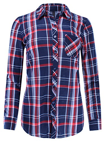 White Plaid Button - Ladies' Code Knit Plaid Checkered Button Down Shirt Roll up Sleeves Navy White Red M Size