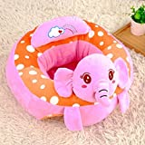 Infant Baby Sitting Chair Support,Soft Baby Support Seat Chair,Portable Dining Chair Support with Toys Attachment Safety Seat for Baby (Pink Elephant)