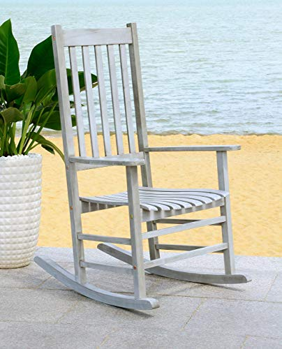 Safavieh Outdoor Living Collection Shasta Washed Rocking Chair, Grey
