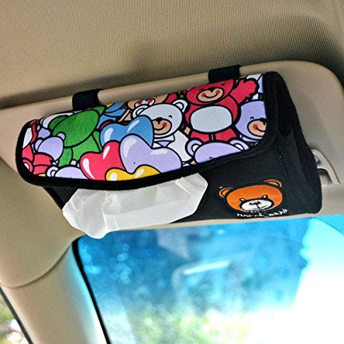 Tianmei Simple Fasion Happy Bear Styling Car Sun Visor Tissue Box Cover Paper Towel Box Holder (Happy Bear - Colorful)