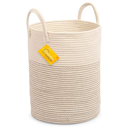 Cotton Rope Basket in Off-White and Brown Stitches | Tall Storage Basket with Long Handles | Decorative Blanket Basket for Living Room and Laundry (Small Hamper)