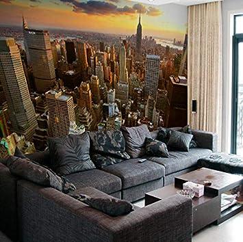 Carta Da Parati Murale 3D New York City Paesaggio Serale Soggiorno ...