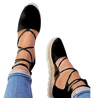 a6836fec2f96 Goodtrade8 Womens Ankle Wrap Espadrille Flat Sandals Summer Lace Up Platform  Sandals (Size 5