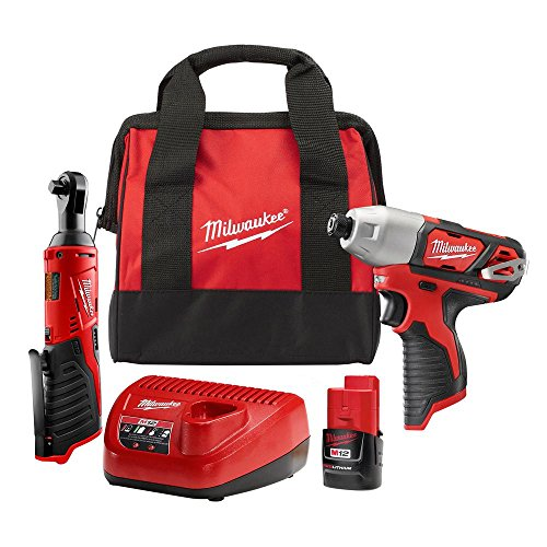 M12 12-Volt Lithium-Ion Cordless 1/4 in. Impact Driver and 3/8 in. Ratchet Combo Kit 3/8 in. & Cordless Impact Wrench Kit With 3/8 in. Drive Metric Socket Set (12-Piece) With 61pc Titan Bit Set