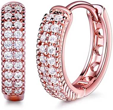GULICX Rose Gold Plated Brass Party Jewelry Cubic Zirconia Round Hoop Elegant Huggie Earrings for Women