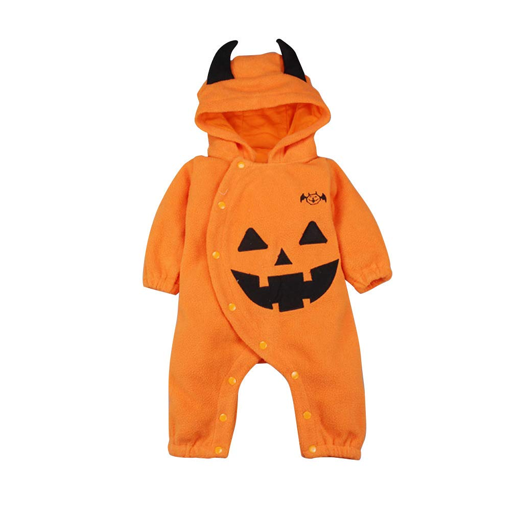 Toddler Baby Boys Girls Funny Halloween Outfit Sets,Long Sleeve Pumpkin Devil Print One-Piece Romper Jumpsuit Costume Orange by KINGLEN Baby Outfits Set