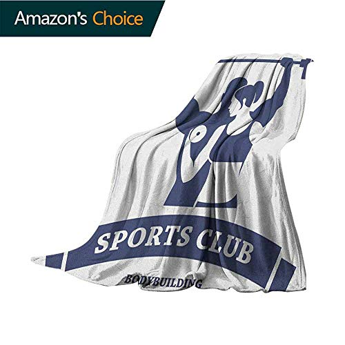 Dallas Club Chair - Fitness Travel Blanket,Sports Bodybuilders Club Man and Woman with Dumbbells Muscles Biceps Form Cozy,Easy to Carry Blanket,70