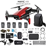 DJI Mavic Air Foldable Quadcopter Fly More Combo (Flame Red) CP.PT.00000174.01 + 2 DJI Intelligent Flight Battery for Mavic Air (5 Total) + Carrying Case and Much More.