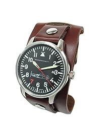 Messerschmitt Aviator Watch with Cuff-Style Leather Strap, SuperLuminova 109-42R7