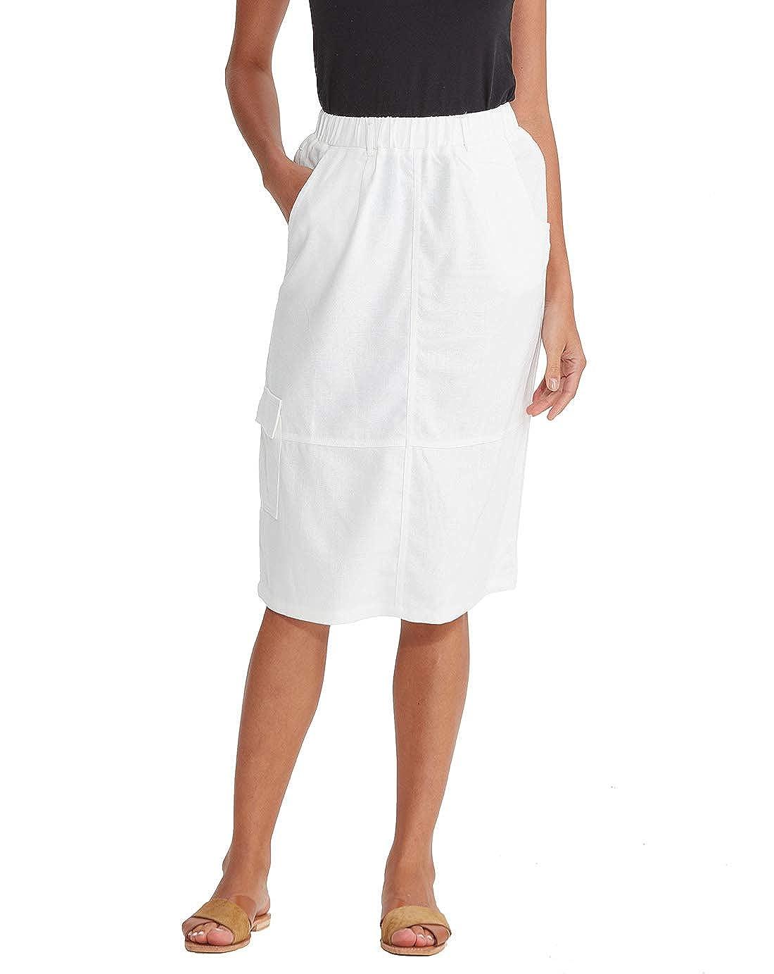 db369b1dd6 Womens Midi Skirts Knee Length with Pockets Summer Elastic Waist Cotton  Linen A Line Scrub Skirt at Amazon Women s Clothing store