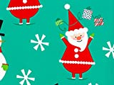 Pack of 1, Flakey Santa & Snowman 24'' x 833' Full Ream Roll Gift Wrap for Holiday, Party, Kids' Birthday, Wedding & Special Occasion Packaging