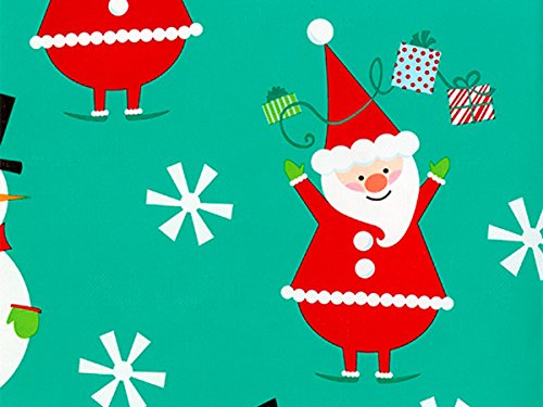 Pack of 1, Flakey Santa & Snowman 24'' x 833' Full Ream Roll Gift Wrap for Holiday, Party, Kids' Birthday, Wedding & Special Occasion Packaging by Generic