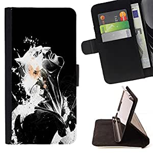 DEVIL CASE - FOR LG OPTIMUS L90 - Black & White Bat - Style PU Leather Case Wallet Flip Stand Flap Closure Cover