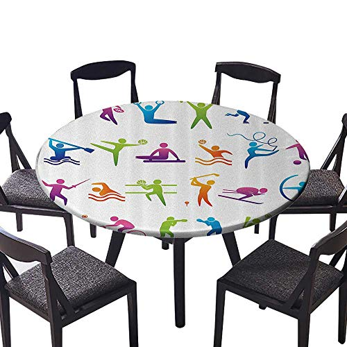 (Easy-Care Cloth Tablecloth Sports with Stick Man Figures Boxing Power Professial Players Welling The for Wedding Restaurant Party 31.5