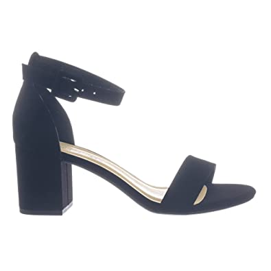 4d99c1044d10 Weekend Cake Black 2 Piece Low Chunky Block Heel Open Toe Dress Sandal w Ankle  Strap
