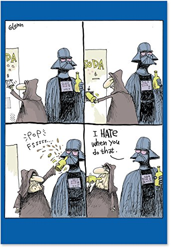 0256 'Star Wars Bottle Opener' - Funny Father's Day Greeting Card with 5
