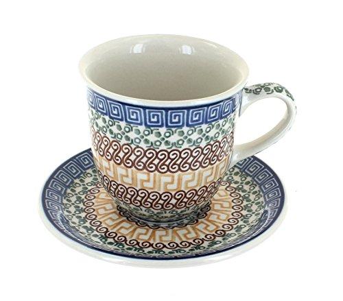 Blue Rose Polish Pottery Athena Coffee Mug & Saucer