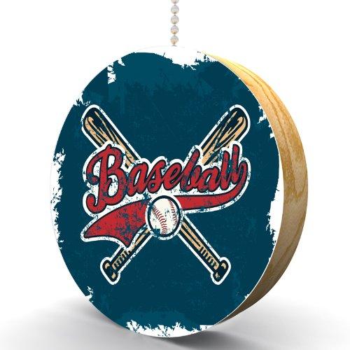 Classic Baseball Hardwood Oak Fan / Light Pull (Baseball Ceiling Fan Pull)