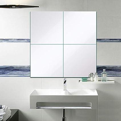 9Pcs 1515cm Mirror Sheets Square Non Glass Mirrors Tiles Self Adhesive