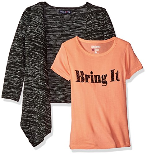 Limited Too Big Girls' 3 Piece Set Cardigan, T-Shirt, and Legging Pant, Neon Light Coral/Black, 10