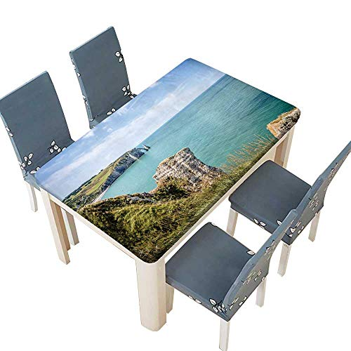 PINAFORE Polyester Cliffs of Etretat in Normandy,France Table Cover for Dining Room and Party W29.5 x L69 INCH (Elastic Edge)