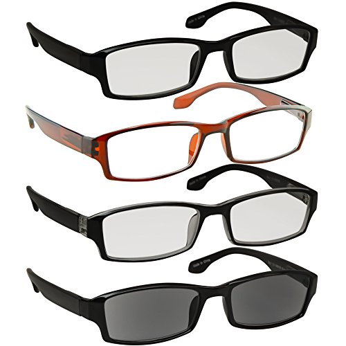 Reading Glasses_Best 4 Pack _ Black Brown Tuxedo Sun Readers for Men & Women_ Have a Stylish Look & Crystal Clear Vision When You Need It!_Comfort Spring Arms & Dura-Tight - Sun Ban Glass