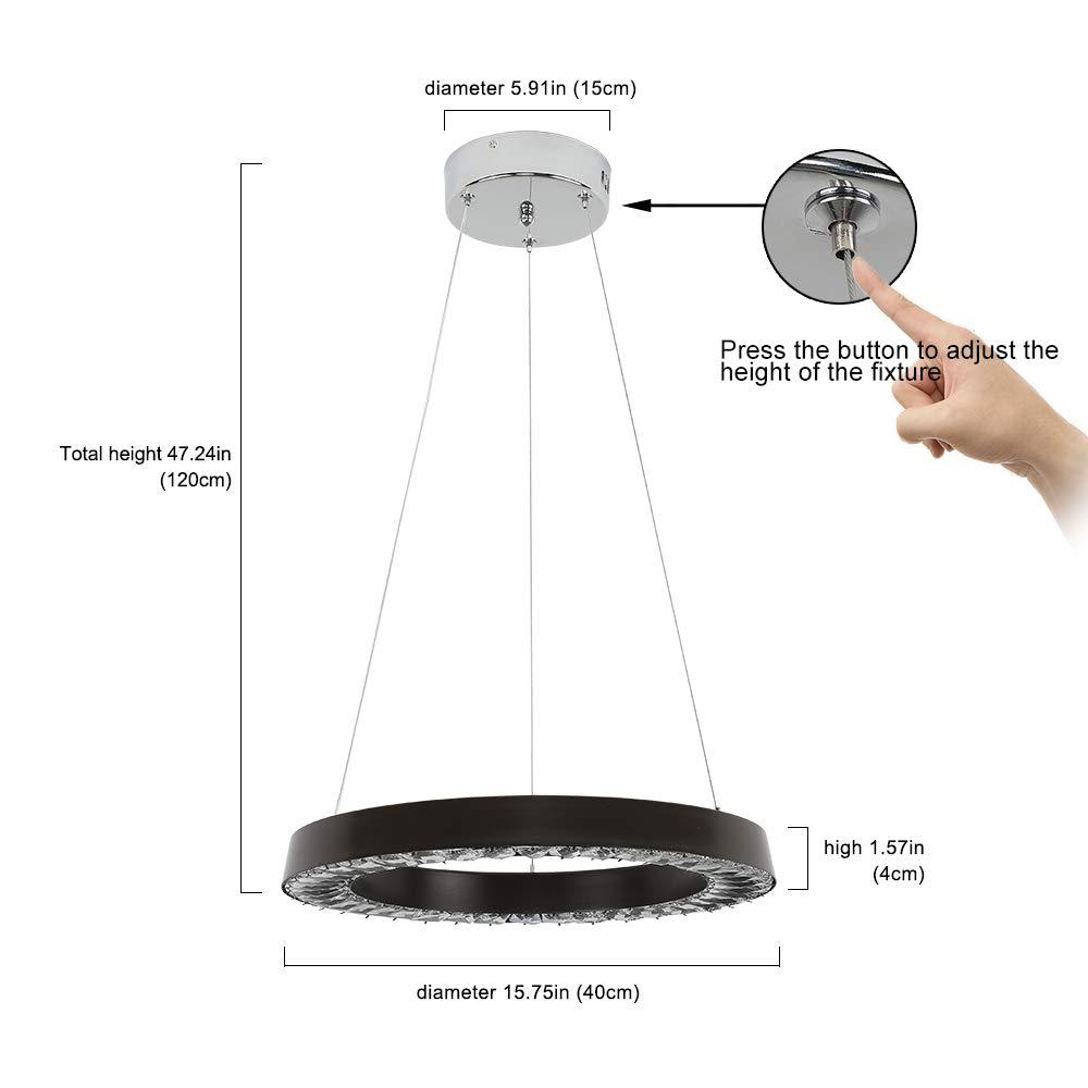 1 anneau diam/ètre : 40 cm, blanc froid Plafonnier LED 36 W en cristal design noir Lampe suspension cr/éative Lustre blanc froid