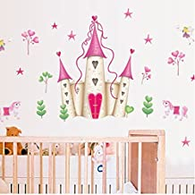Beautiful Princess Castle Wall Decal Home Sticker House Decoration WallPaper Removable Living Dinning Room Bedroom Kitchen Art Picture Murals DIY Stick Girls Boys kids Nursery Baby Playroom Decoration
