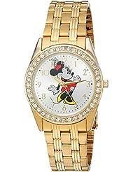 Disney Minnie Mouse Womens Gold Alloy Glitz Watch, Gold Stainless Steel Bracelet, W002765