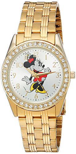 Disney Minnie Mouse Women's Gold Alloy Glitz Watch, Gold Stainless Steel Bracelet, W002765