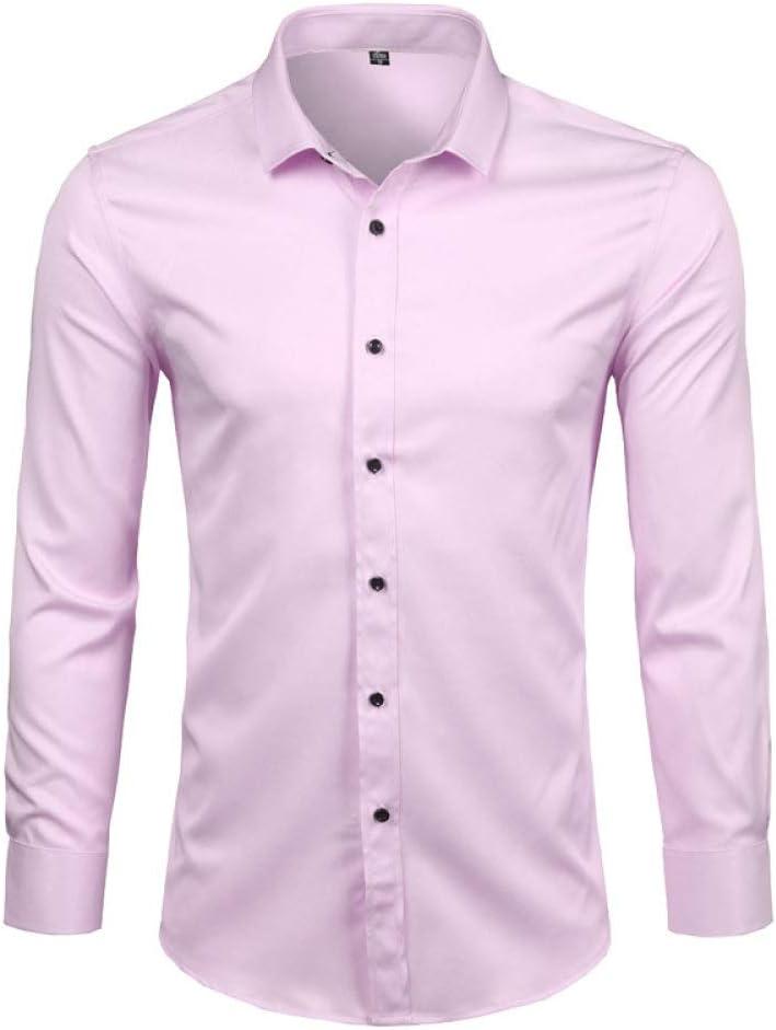 YFSLC-Studio Camisa De Manga Larga Hombre,Rosa Vestido De Fibra De Bambú Mens Camisas Slim Fit Larga SleeveCasual Abajo Elásticos Cómodos Formal Camisa Masculina: Amazon.es: Deportes y aire libre