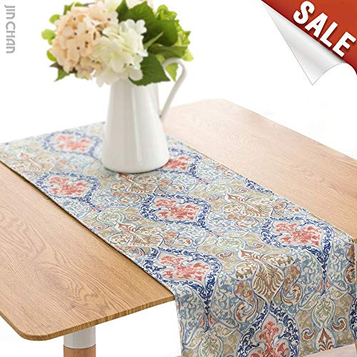 Linen Blend Damask Table Runner One Piece 13 by 72 inch, Green
