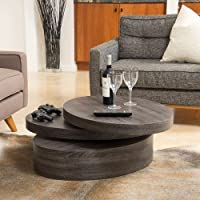 Home Carson Oval Mod Rotating Wood Coffee Table