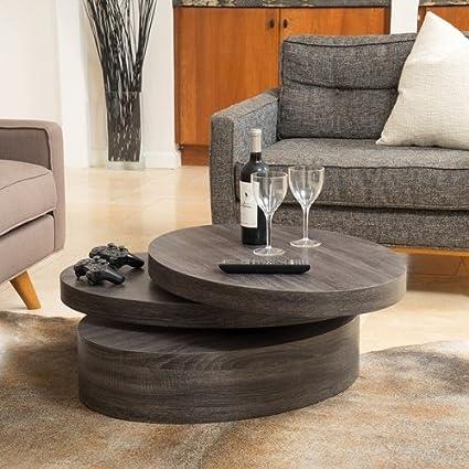 Superbe Home Carson Oval Mod Rotating Wood Coffee Table