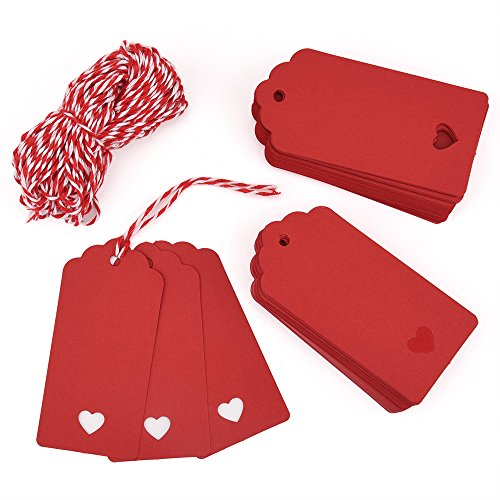 Zealor 100 Pieces Red Kraft Paper Gift Tags with String for Valentine's Day Wedding - Ribbon Heart
