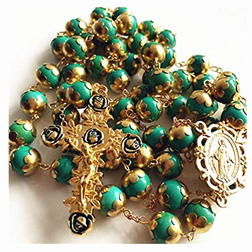 elegantmedical Handmade Gold XL 10MM Turquoise Beads Catholic AVE Maria 5 Decade Rosary Necklace Cross Crucifix Mens Womens Religious Gift