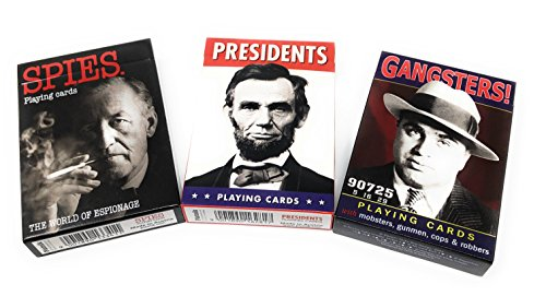 Gangsters, Spies and U.S. Presidents Picture-Playing Card Assortment-Vintage 3 Deck Set or Gift Pack by Piatnik