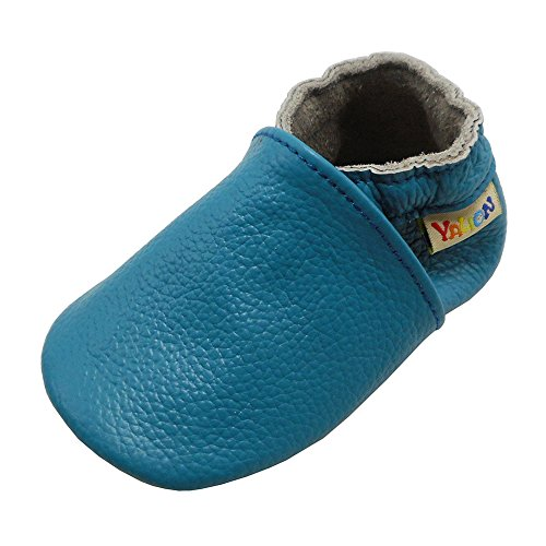 - Yalion Baby Boys Girls Shoes Crawling Slipper Toddler Infant Soft Leather First Walking Moccs(Sky Blue,0-6 Months)